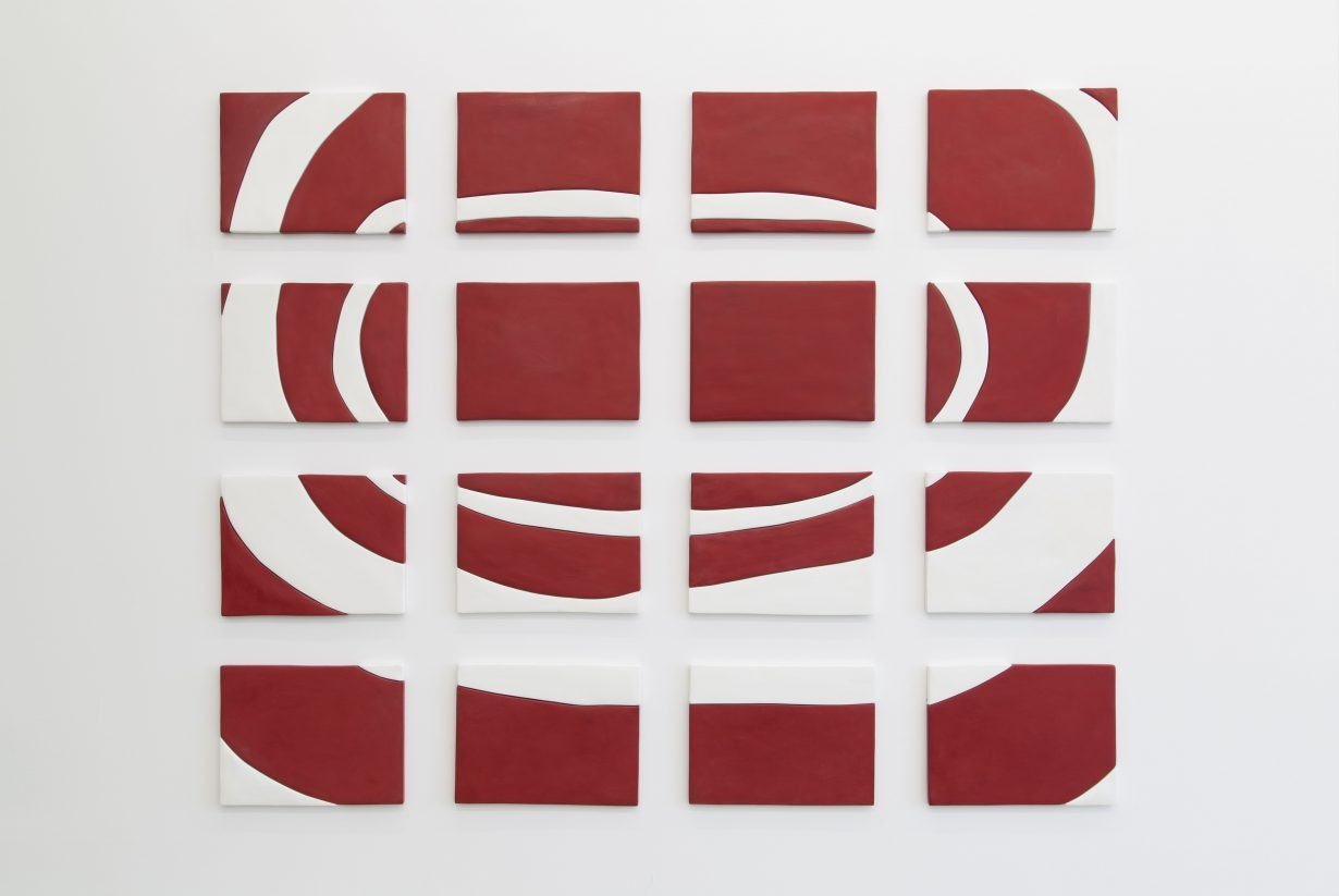Red and White Painting, 2013, medite, plaster, milk paint, acrylic. Courtesy the artist and Callicoon Fine Arts, New York