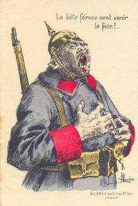 La bête féroce sent venir la faim. Editions UNCE Paris. Illustrated postcard, date unknown. Paris roundup Jan/Feb 2015