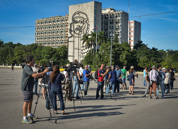 Journalists wait for Tania Bruguera, from Opinion March 2015 Hessler