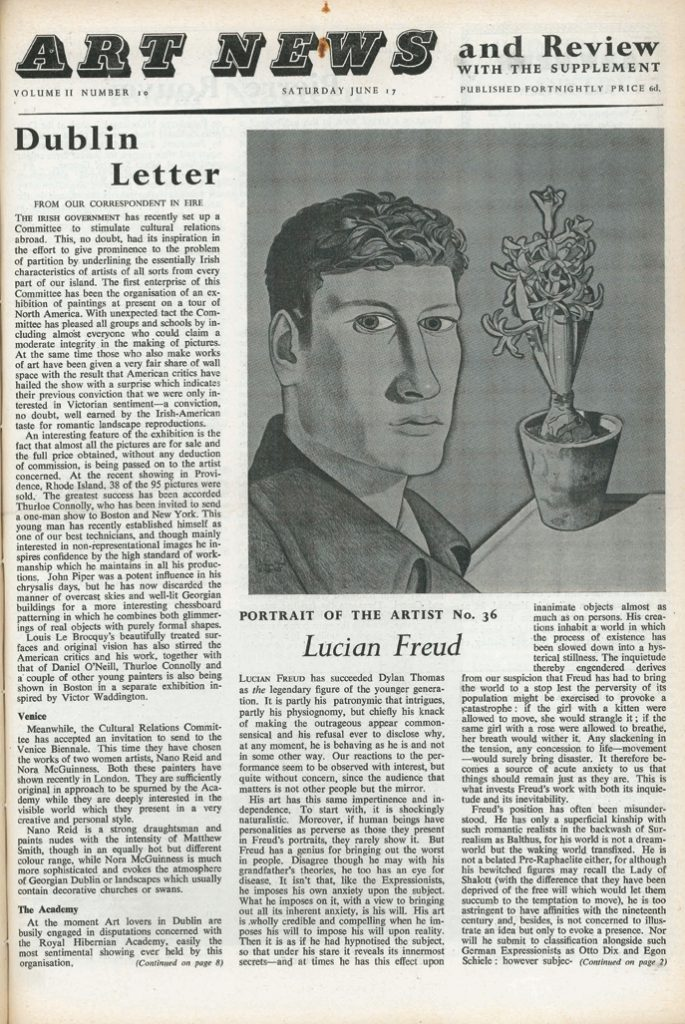Archive cutting David Sylvester on Lucian Freud, 1950, page 1