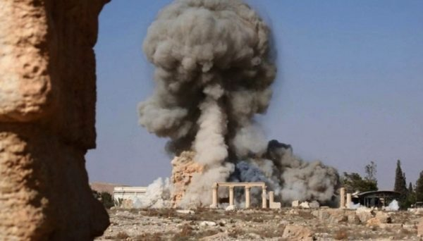 ISIS releases images of explosives and the destruction of the ancient Palmyra temple of Baalshamin, August 2015