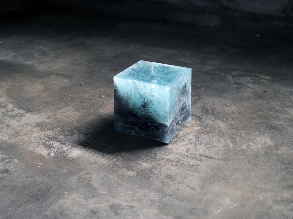 Trevor Paglen, Trinity Cube, 2015–, irradiated glass from the Fukushima Exclusion Zone, trinitite, 20 x 20 x 20 cm. Courtesy the artist and Don't Follow the Wind