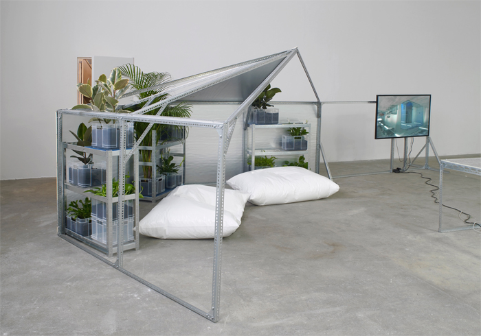 Yuri Pattison, Half relief shelter zone for user, space (hexayurt configuration), 2016. Commissioned and produced by Chisenhale Gallery, London 2016 Photo credit: Andy Keate