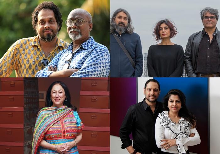 l to r, from top: Bose Krishnamachari & Riyas Komu, Raqs Media Collective, Kiran Nadar, Rajeeb and Nadia Samdani
