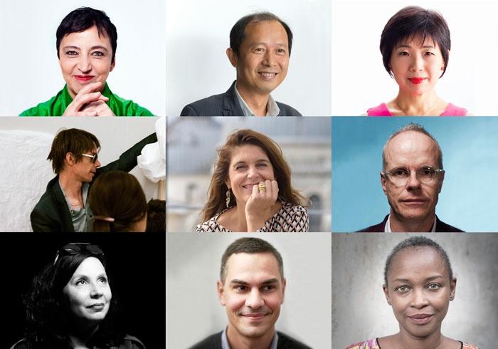 l to r, from top: Beatrix Ruf, Hou Hanru, Yuko Hasegawa, Adam Szymzcyk, Christine Macel, Hans Ulrich Obrist, Christine Tohmé, Massimiliano Gioni, Koyo Kouoh