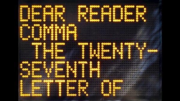 Shannon Ebner, Dear Reader (still), 2011. AR March 2018
