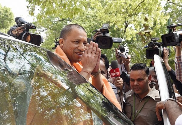 Chief minister of Uttar Pradesh, Yogi Adityanath, arrives at Indian Parliament in New Delhi. ARA Summer POV