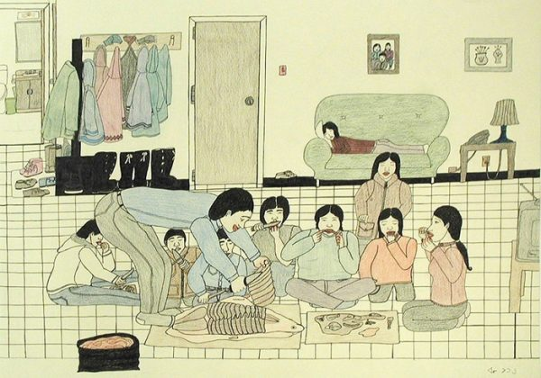Annie Pootoogook, Eating Seal at Home, from AR September 2018 Liverpool Biennial