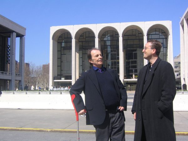 Franz West (left) and Tom Eccles, Lincoln Center Plaza, New York, 2004. Courtesy Tom Eccles