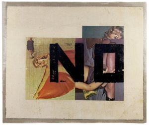 Boris Lurie, NO on Reversed Pinups, from the series Hard Writings, 1972. Jan_Feb 2019 Review