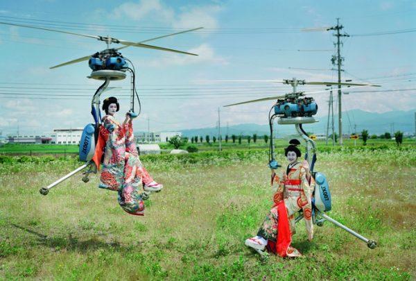 Mari Hirao and Yui Yamamoto operating Gen h–4 flying machines, Nagano, Japan, 2016. AR December 2019 Feature