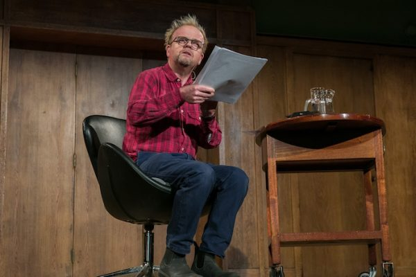 Toby Jones performs Ed Atkins' Old Food at Conway Hall, London. Image courtesy of the artist and Cabinet, London