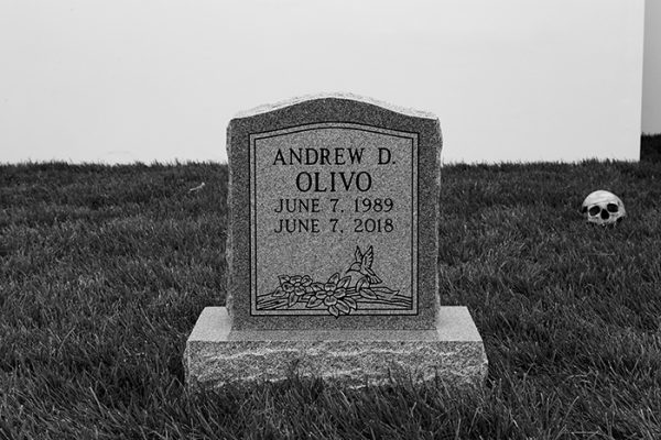 Puppies Puppies Tombstone (Andrew D. Olivo 6.7.89–6.7.18), 2018. AR Jan Feb 2020 Simonini