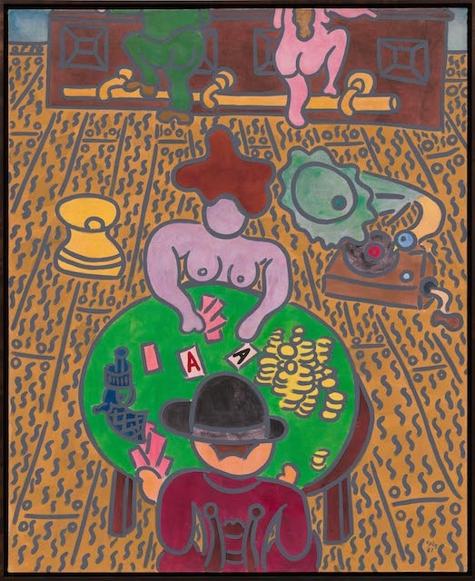 Wiliiam N. Copley, Card Players, 1981, acrylic on linen, 163 × 133 cm. © the estate of the artist and Artists Rights Society (ARS), New York. Courtesy the estate of the artist; Kasmin, New York; and Galerie Max Hetzler Berlin, Paris & London